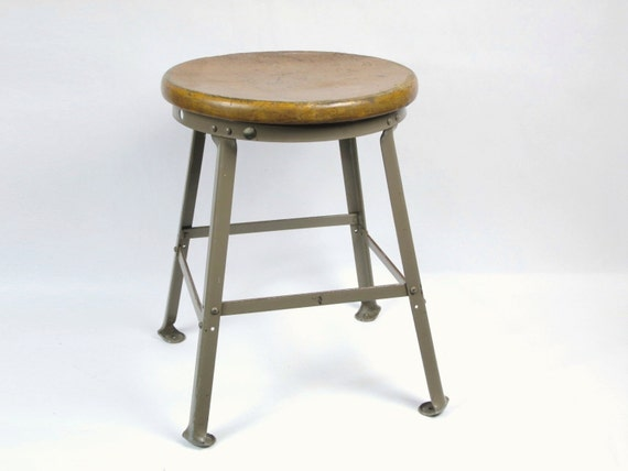 Vintage Metal & Wood Industrial Shop Stool, Short Classroom Stool, 19 in. Seat Height, Putty Metal Finish