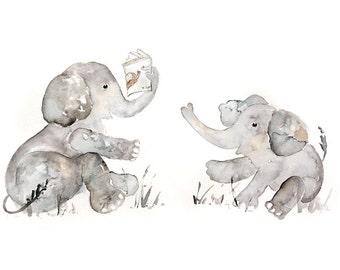 Watercolor Elephant, Baby Boy Nursery, Baby Shower Gift, Nursery Print, Elephant Nursery Art, Elephant Print, Playroom Art, Nursery Decor