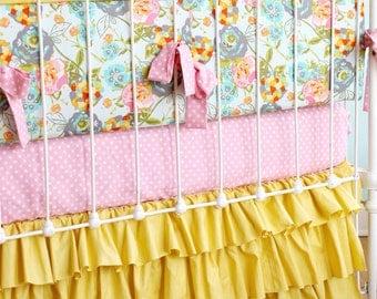 Floral Baby Bedding, Mustard Yellow Baby Girl Bedding, Pink and Aqua Crib Bedding, Shabby Chic Nursery, Yellow Ruffle Crib Skirt, LILY BELLE