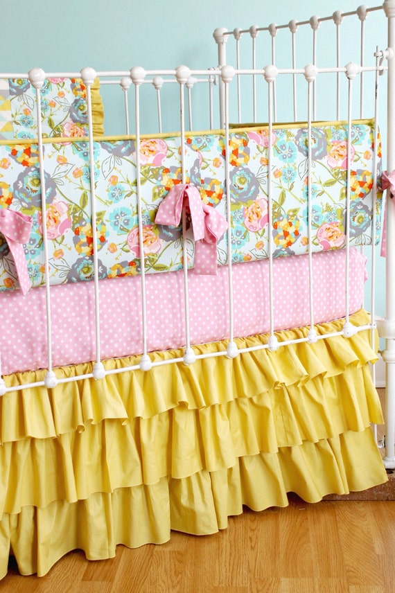 Floral baby bedding mustard yellow baby girl bedding pink Baby girl bedding