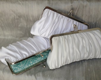 Satin Gathered Kisslock: White Bridal Clutch (CHOOSE YOUR COLORS)