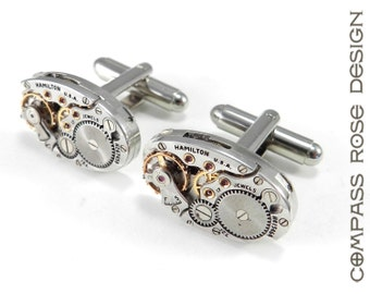 Steampunk Cufflinks Mens Steampunk Cuff Links - Soldered Watch Movement - Mechanical Watches - Steampunk Jewelry by Compass Rose Design
