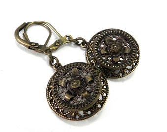 Antique Button Earrings - Vintage Button Jewelry Edwardian Brass Lace Button Earrings Bohemian Vintage