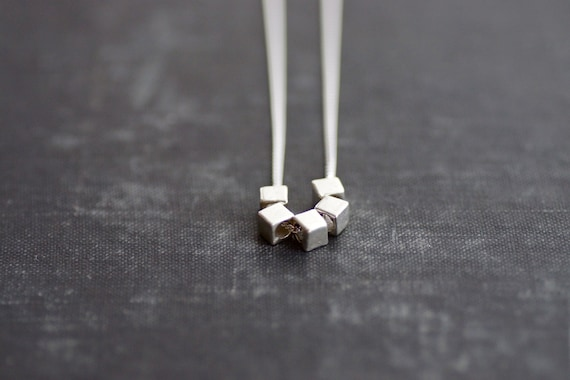 Square Beads on Sterling Chain Necklace