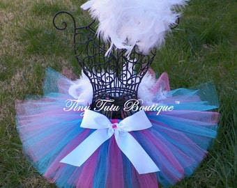 BUBBLE GUM- pink, blue, and white feathered baby/child tutu with hairpiece:  Newborn-5T
