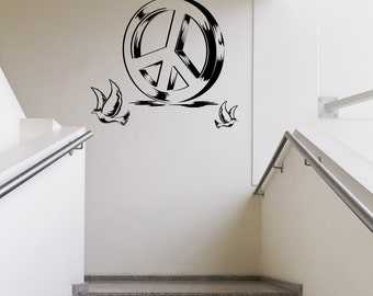 Vinyl Wall Decal Sticker Peace Sign and Doves 1110m