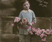 Vintage Hand Tinted Real Photo Postcard - Birthday Greeting Young Boy with Flowers