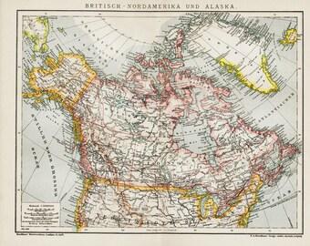 1908 edwardian NORTH AMERICA and ALASKA map, British North America and Alaska, Europe.104 years Old lithograph print.