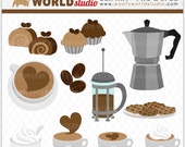 Coffee Cream and Cupcake Sweet Treats Clipart - INSTANT DOWNLOAD - Digital Clip Art - WA102C7a