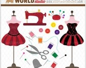 Sewing Room Boutique and Spa Clipart - INSTANT DOWNLOAD - Digital Clip Art - WA340C5a