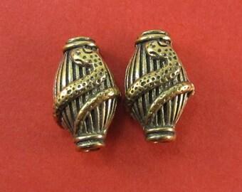 2 Bronze Snake Beads