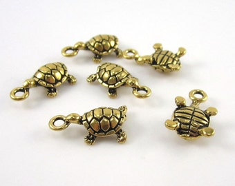 6 Gold TierraCast Turtle Charms