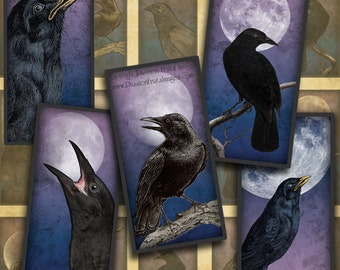 "Moonlit Crows digital collage sheet- 1"" x 2"" domino tile images-- Instant Download"