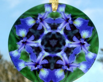 Purple Iris Suncatcher Boho Chic Mandala New Age Sacred Geometry Hippie Kaleidoscope Unique Gift For Her Flower Lover Gift Circle of Purple