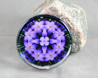 Crocus Glass Paperweight Boho Chic Mandala New Age Sacred Geometry Hippie Kaleidoscope Heart Chakra Zen Unique Boss Gift Prelude of Spring