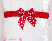 Red Lolita Garter, Satin, heart polka dot bow. Valentines, Bridal, Prom, Rockabilly, Burlesque, Goth, Hen Night, Bachelorette, Couture