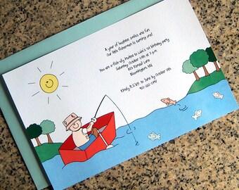 little boy fisherman fishing trip themed birthday invitations spring/summer or autumn (full sized, fully custom)  with envelopes - set of 10