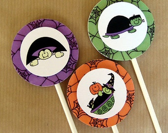 halloween turtle costume birthday party cupcake cake toppers decorations - witch, vampire, and frankenturtle - set of 12