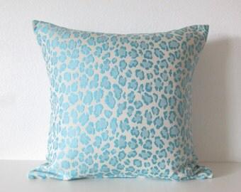 Cheetah Sky Blue pillow cover
