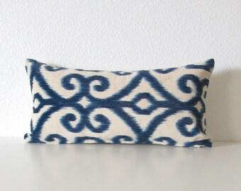Vibrant Blue Ikat 8x16 mini lumbar pillow cover