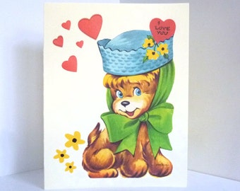 I Love You Puppy in Blue Hat Valentine Card Reproduction