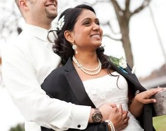 Pearl Bridal Necklace, Ivory Swarovski Pearls, Bridal Rhinestone Necklace, Wedding Pearl Necklace, Statement Bridal Necklace,  ALEXANDRA