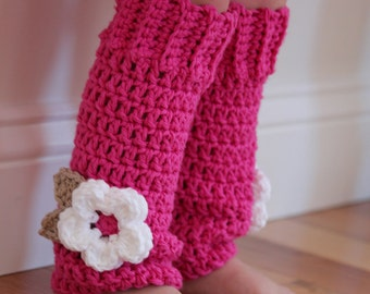 Crochet Baby Leg Warmers, hot pink with white flower, girls legwarmers, toddler leggings, baby legwarmers