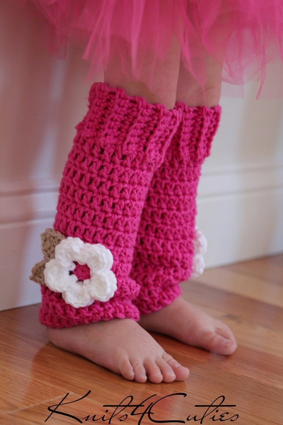 Crochet Baby Leg Warmers hot pink with white flower girls