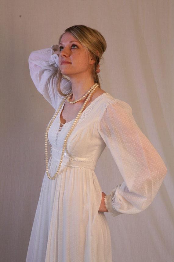 Vintage 70s white wedding dress gunne sax maxi boho prairie for Gunne sax wedding dresses