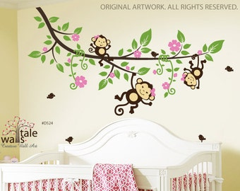 SALE- Large Tree branch with 3 monkey wall decals and 5 birds for jungle nursery theme for girl or boy