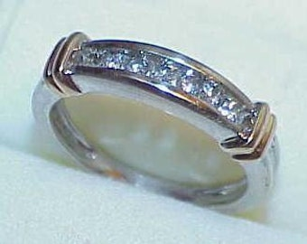 14K .25Ct 7 Diamonds Wedding BAND RING White yellow Gold Size 6.25