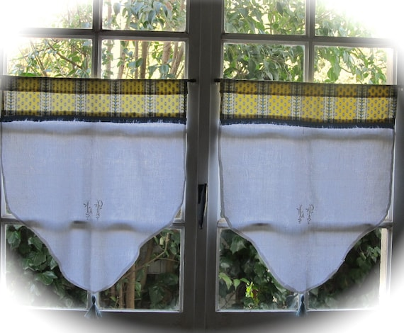 French White Brise Bise Cafe Curtains Lp By Hatchedinfrance