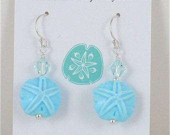 Cape Cod Sand Dollar Earring Light Aqua Blue with Swarovski Crystal
