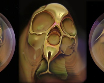 Flameworked Glass Gold Fumed Ghost Skull Marble by Bashi Alé