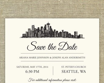 Seattle Skyline Save the Date; SAMPLE ONLY