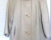Vintage Cream Mohair Wool Coat with Mink Collar 1960's
