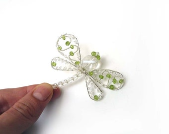 Peridot Dragonfly Hair Pin, Clip, Brooch or Bouquet Decoration - Dragonfly Jewelry -Tagt
