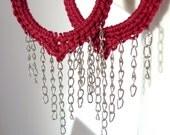 Red Dangling Hoop Earrings, Fringe Earrings - Gypsy, Bohemian - Crochet Jewelry - Large Women Earrings