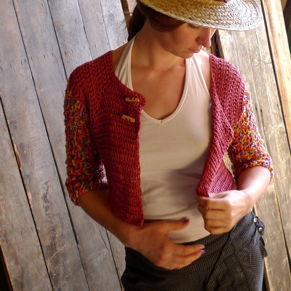 Crohet Cardigan, Swing Jacket, Cropped Cardigan - Pomegranate Red, Terracotta - Bamboo, Viscose - Natural Earthy Women Clothing - size M