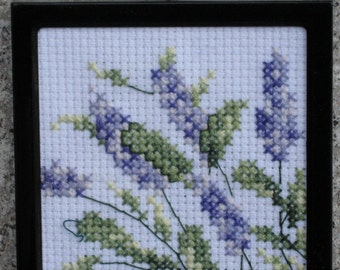 Lavender Blossoms Mini Cross Stitch Ornament