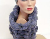 Women Lavender Cowl - Handmade Cowl Knit - Original Look - Women Knitted Neck Scarf - Winter Fashion - Shiny Scarf