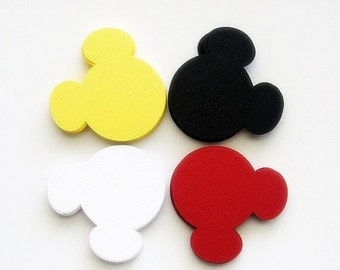 36 Mickey Mouse die cut (4 x3.75 inches) in Yellow, red, white and black  A167