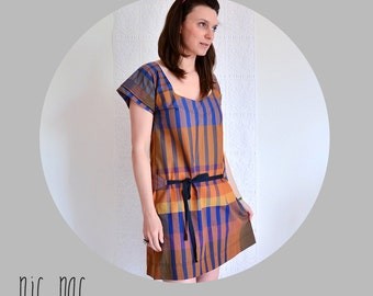 SUMMER SALE - Womens a line cotton dress in brown and blue gingham