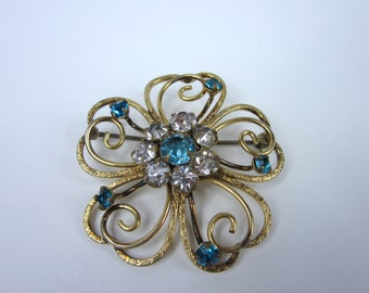Vintage Gold Filled Brooch/ Blue and Clear Rhinestone Pin Coat Hat