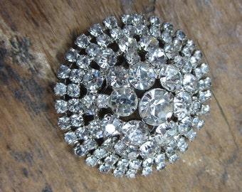 Vintage Brooch. Rhinestone Pin. Massive Coat Hat Pin