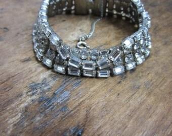 1960s Rhinestone Bracelet. Multi stone 4 Row Tennis Bracelet. Get your Bling