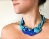 Turquoise blue fabric statement necklace - recycled jewelry