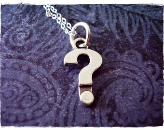Silver Question Mark Necklace - Sterling Silver Question Mark Charm on a Delicate Sterling Silver Cable Chain or Charm Only