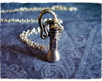 Flashlight Necklace - Antique Pewter Flashlight Charm on a Delicate Silver Plated Cable Chain or Charm Only