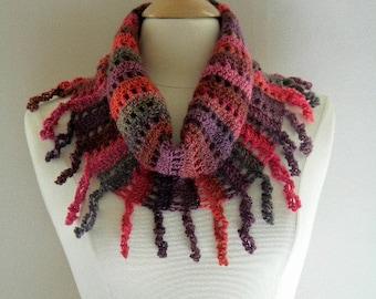 Crochet Scarf Neckwarmer Women Bay Breeze Open Mesh Cowl Beautiful Fringe Red Burnt Orange and Deep Purple